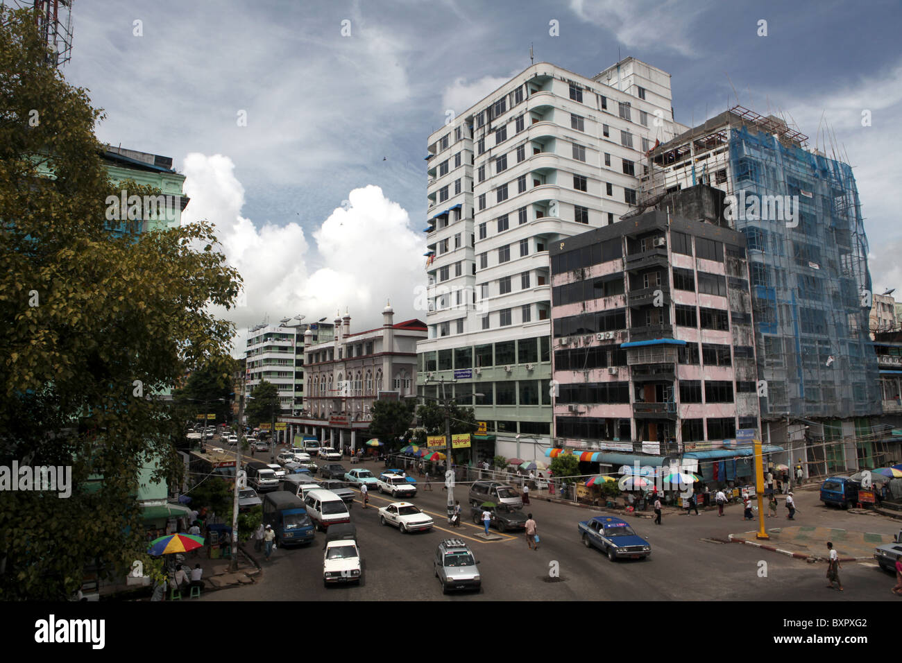 A view of the city centre streets in Yangon or Rangoon, Myanmar or Burma in Asia - Stock Image