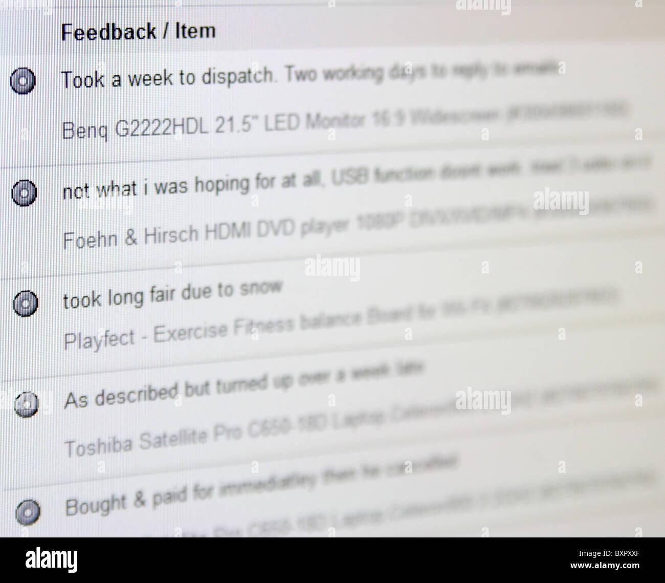 eBay neutral feedback - Stock Image