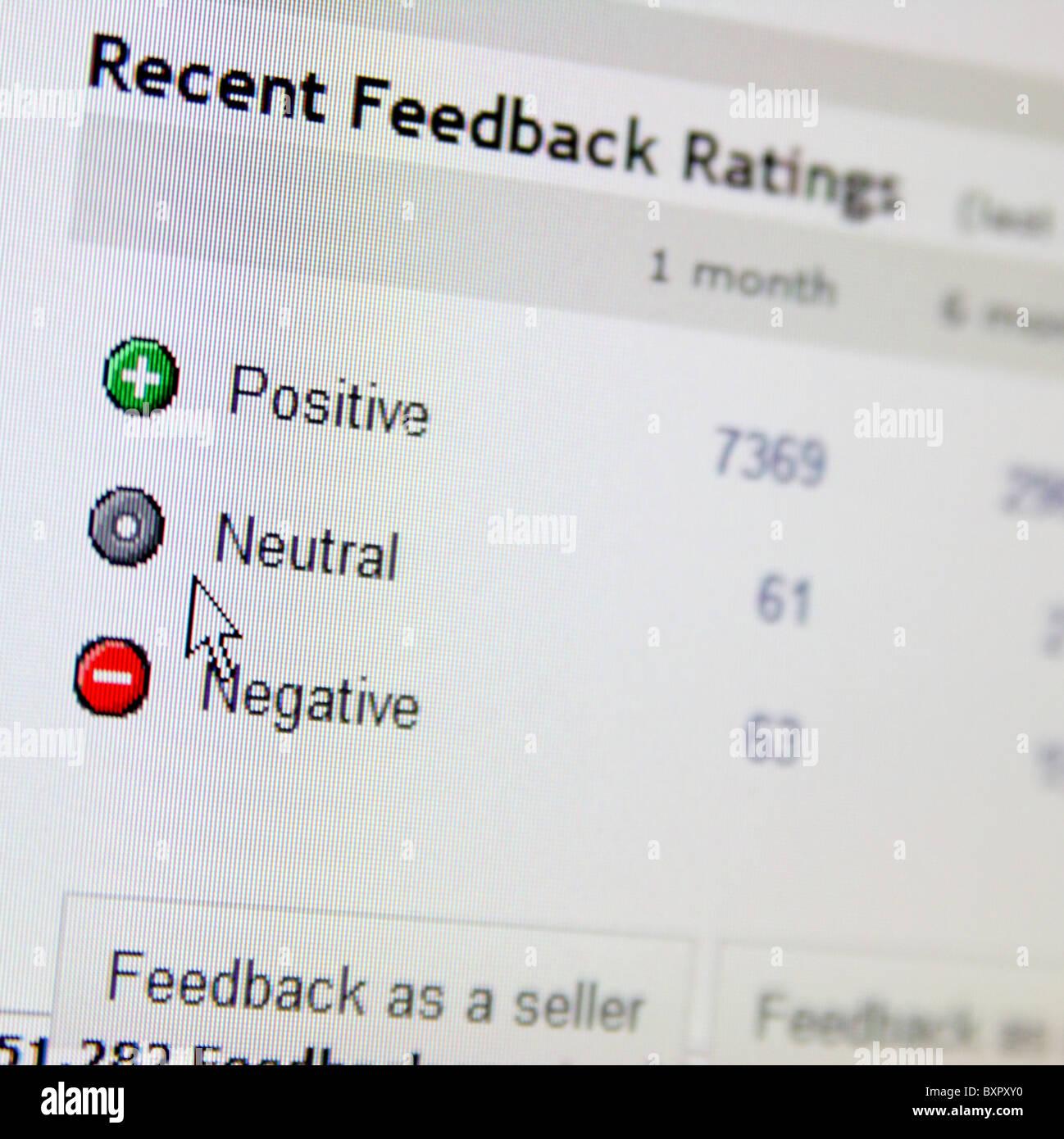eBay feedback ratings - Stock Image