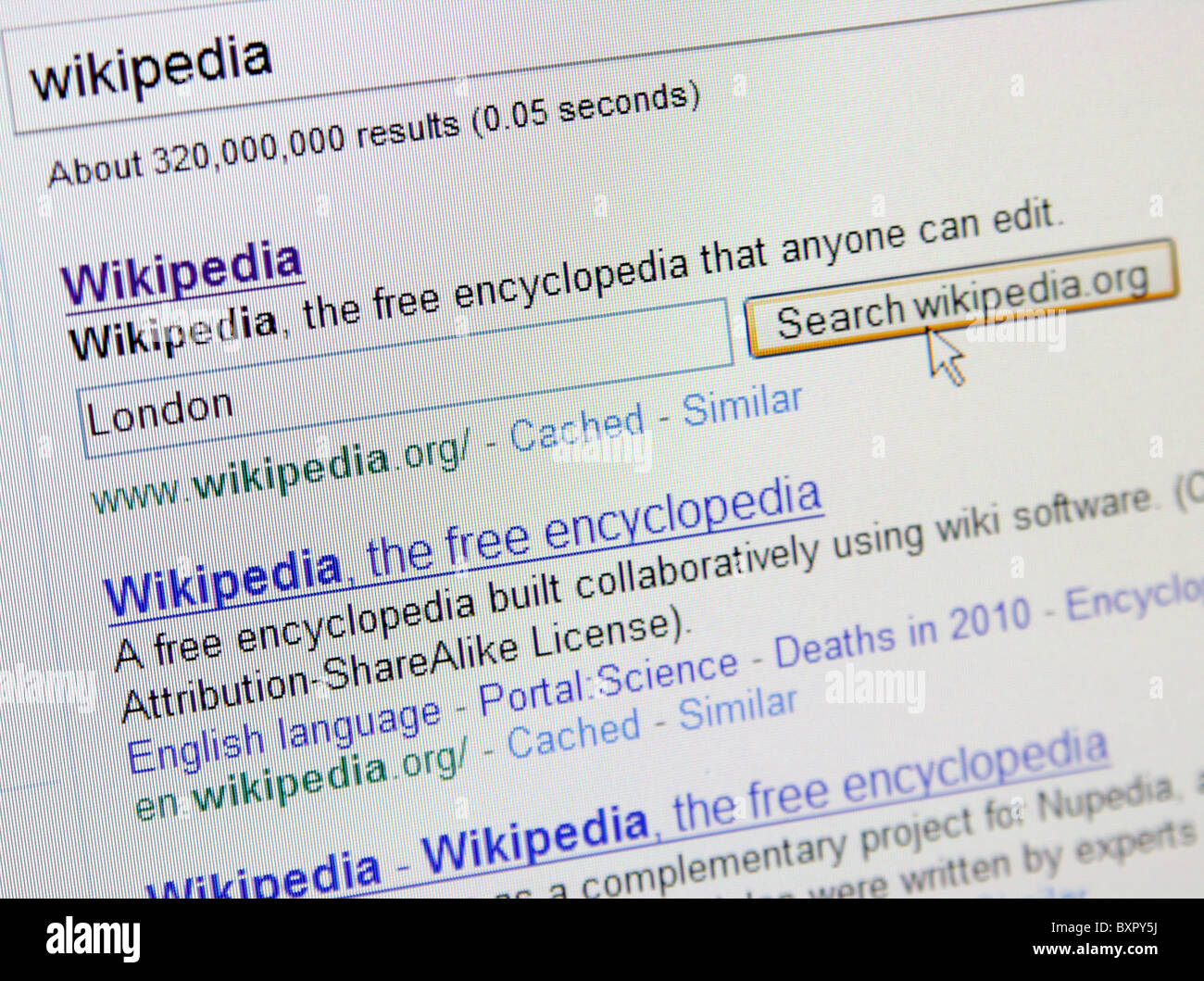 Wikipedia in Google Stock Photo: 33695694 - Alamy