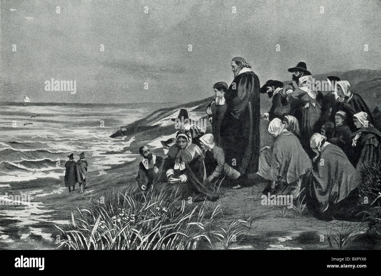 The Pilgrims at Plymouth watching the Mayflower depart for England in April 1621. - Stock Image