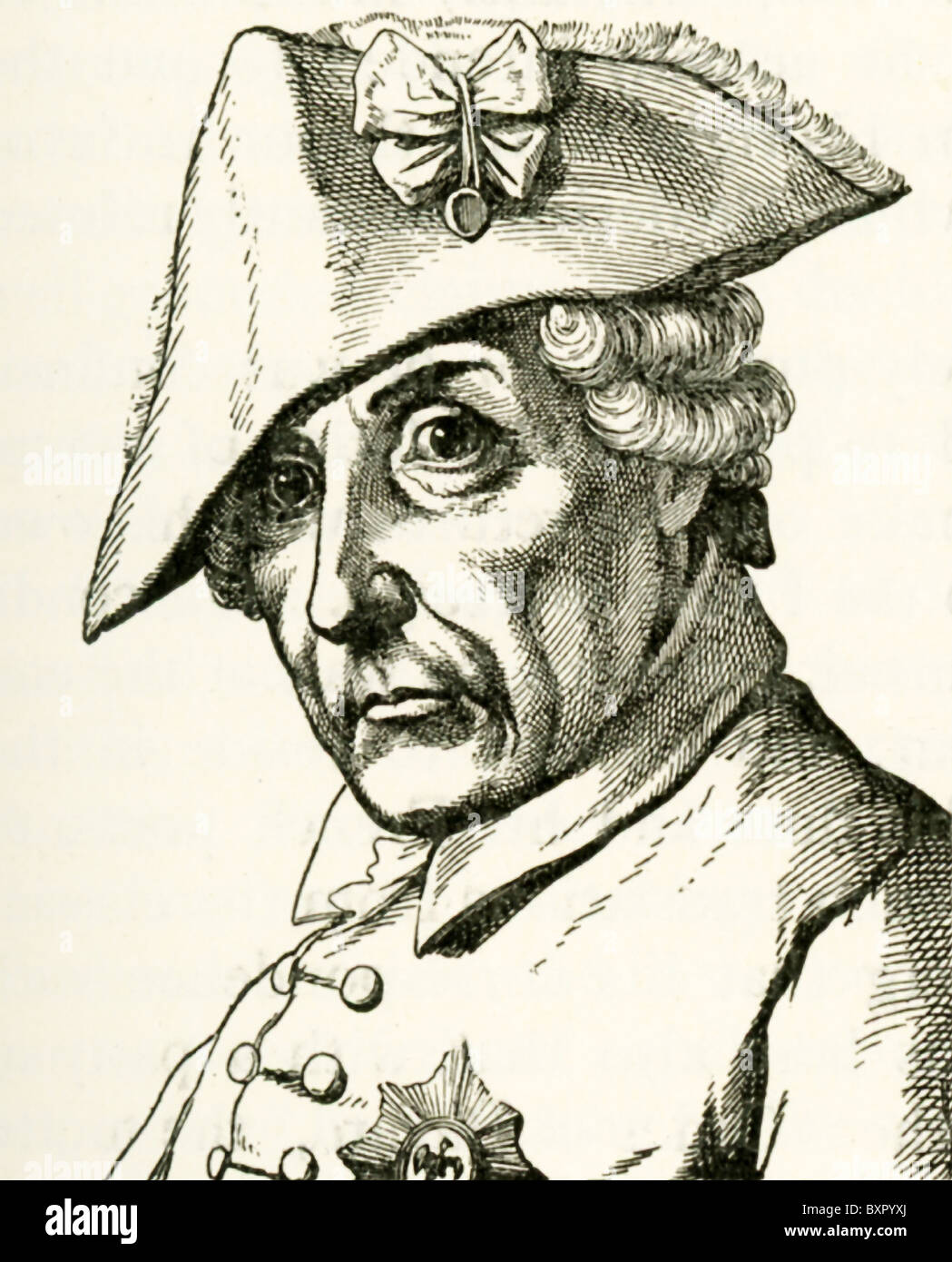 Frederick the Great (or Frederick II)  succeeded his father Frederick William I in 1740 as king of Prussia. - Stock Image