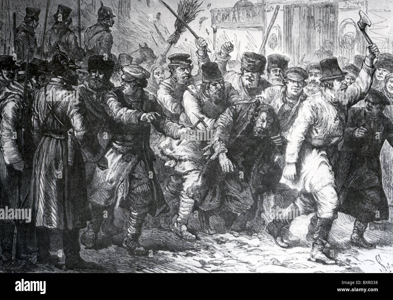 KIEV POGROM  1881 following assassination of Alexander II.  Mob rule takes over while soldiers stand by. - Stock Image