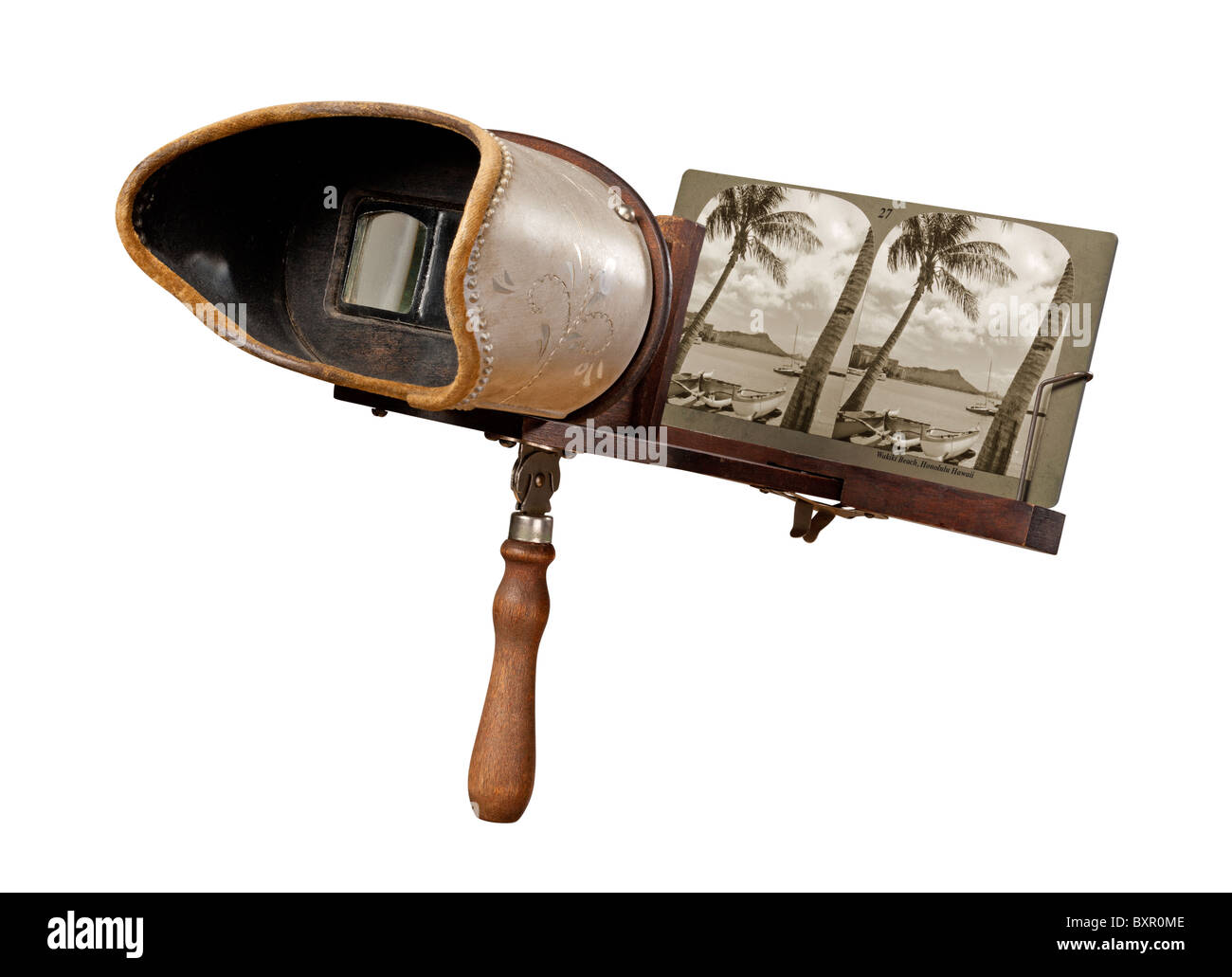 Antique Stereograph Isolated on a white background. - Stock Image