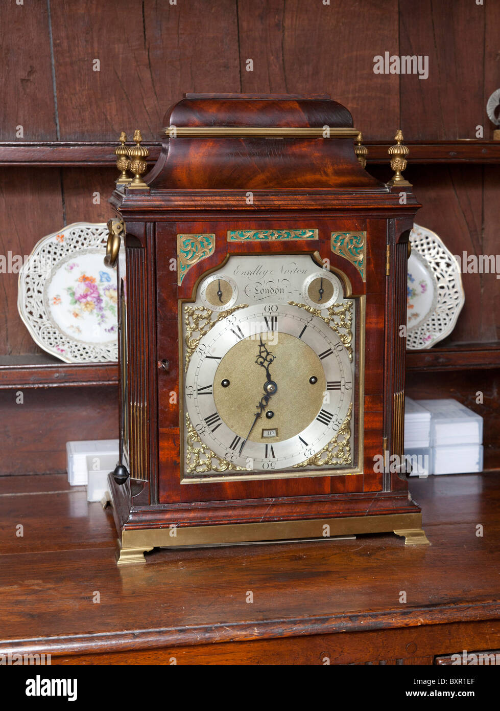 Eardley Norton mahogany musical bracket clock made around 1770 in London - Stock Image
