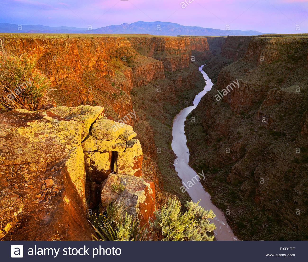 The 'Taos Box' 'Rio Grande' [Sangre de Christo Mountains] sunset from north of the 'Rio Grande - Stock Image