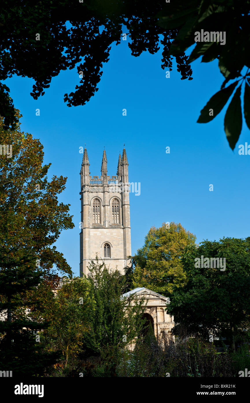 Magdalene College Tower in the historic city of Oxford UK - Stock Image