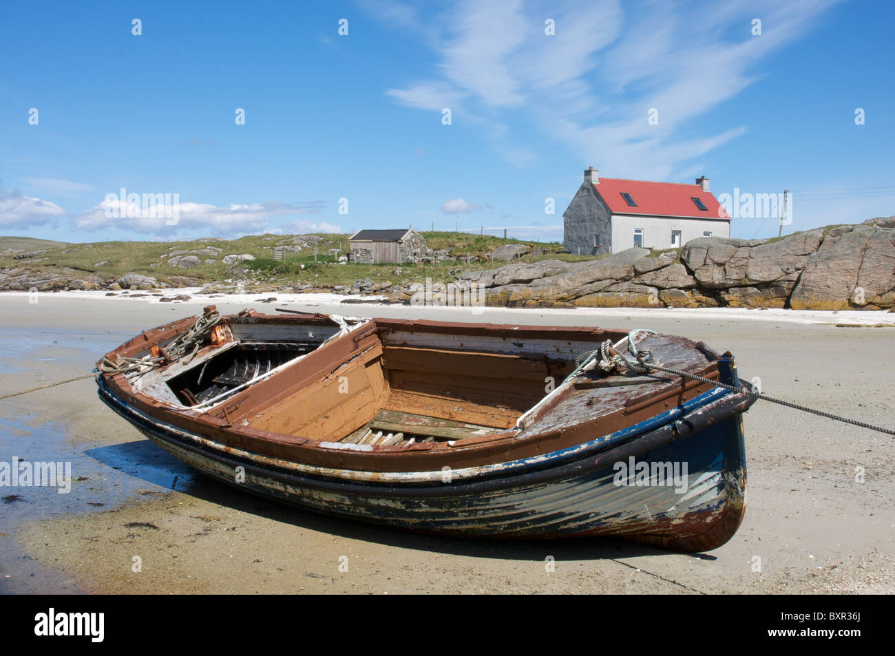 Crannag house, Traigh Mhor (Big Beach), Barra, Outer Hebrides, Scotland, UK - Stock Image