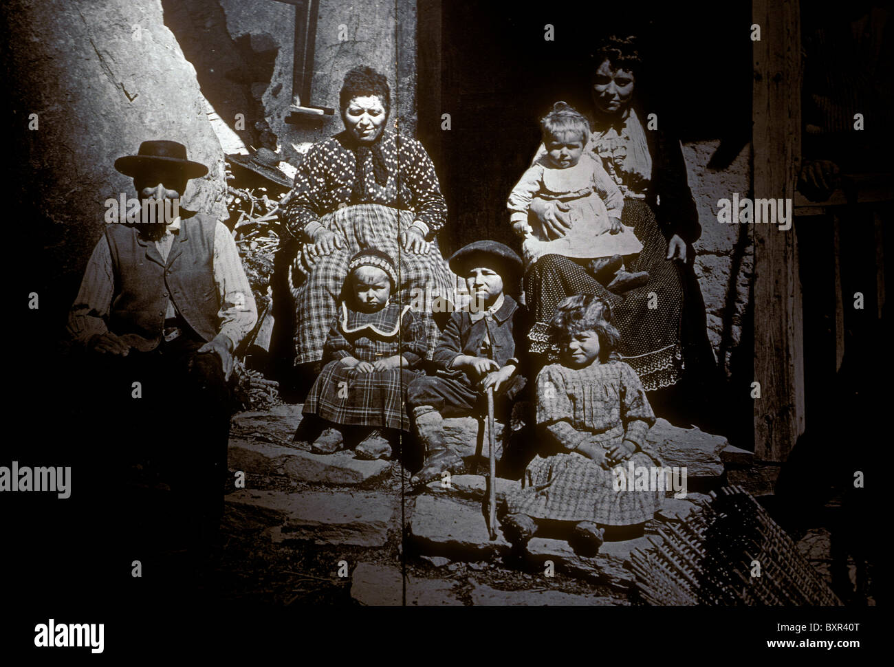 Historical photograph of Italian immigrants Dauphinois Museum city of Grenoble Rhone-Alpes France Europe - Stock Image