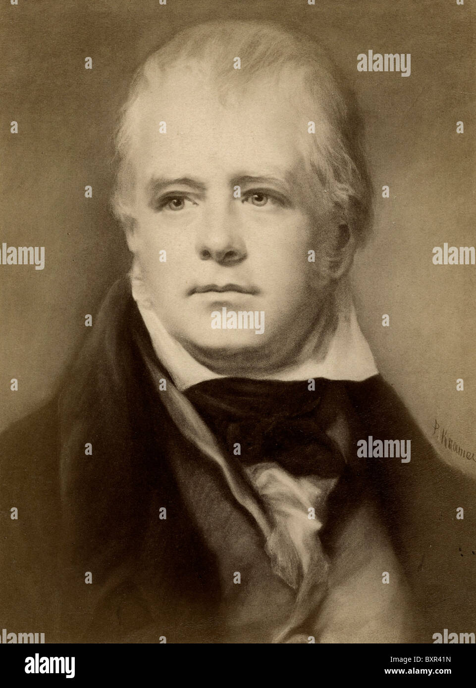 Portrait of Sir Walter Scott (1771-1832) Scottish Writer and Historical Novelist (c19th Albumen Photograph of Painting) - Stock Image