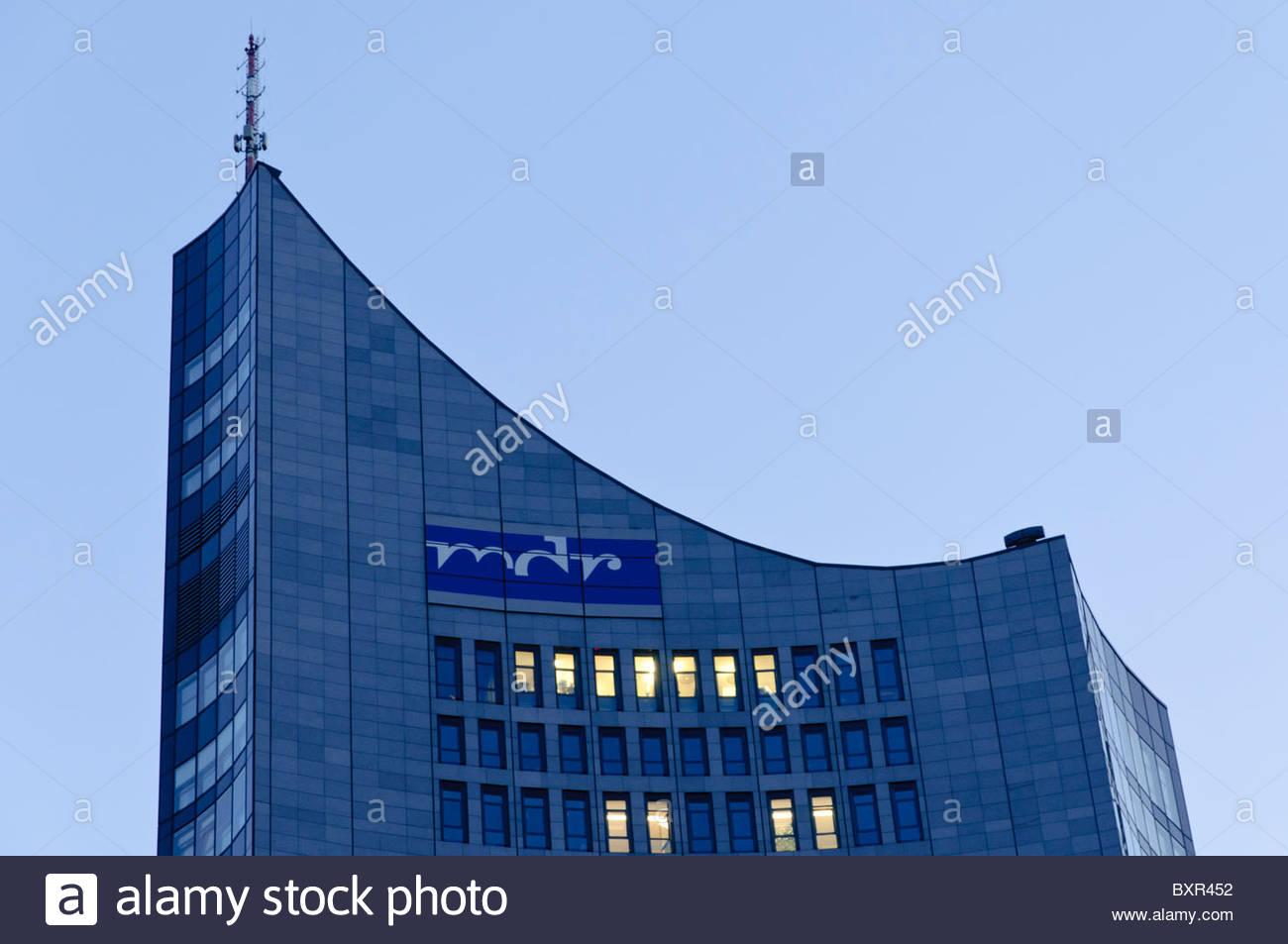 City-Hochhaus skyscraper, Panorama Tower, MDR, Leipzig, Saxony, Germany, Europe - Stock Image