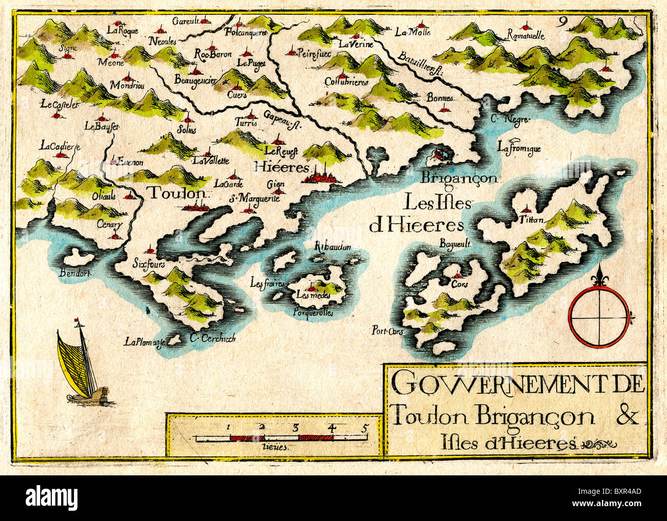 Îles Hyères, Islands of Port Cros and Porquerolles, Provence, France (Old or Vintage Map by Nicolas Tassin, - Stock Image