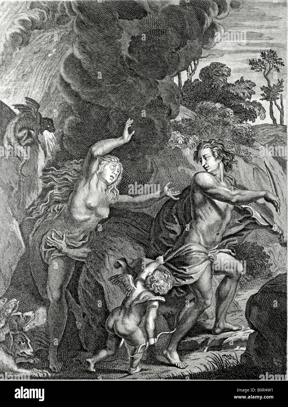 Orpheus leading Eurydice Out of Hell (Engraving by Bernard Picart, 1723) - Stock Image