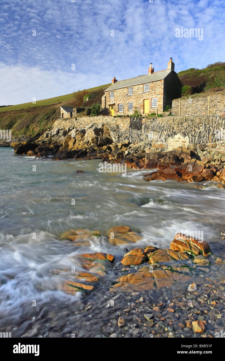 Quay Cottages at Port Quin on the North Coast of Caornwall - Stock Image