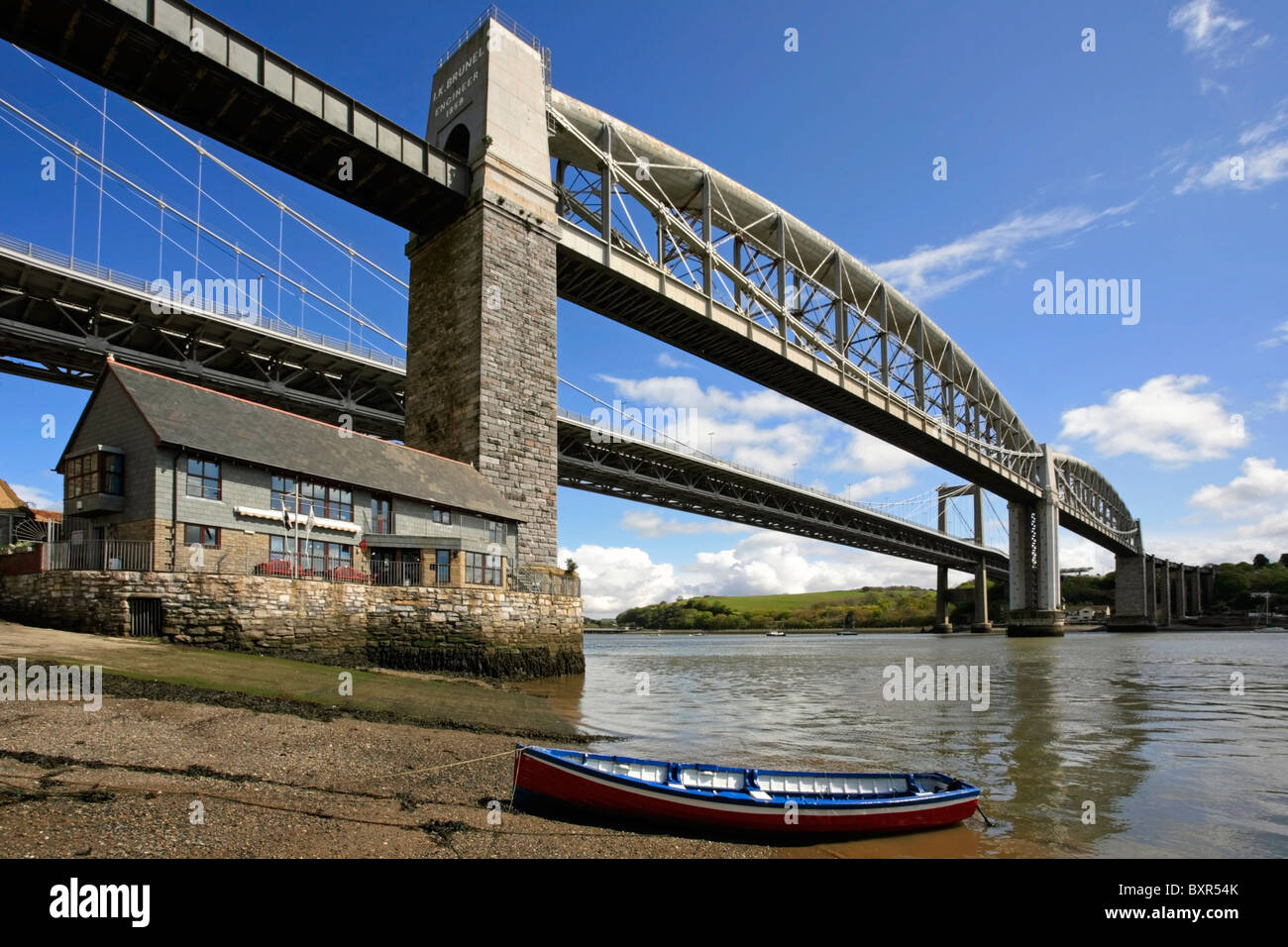 The road and rail bridges across the river Tamar at Saltash Stock Photo