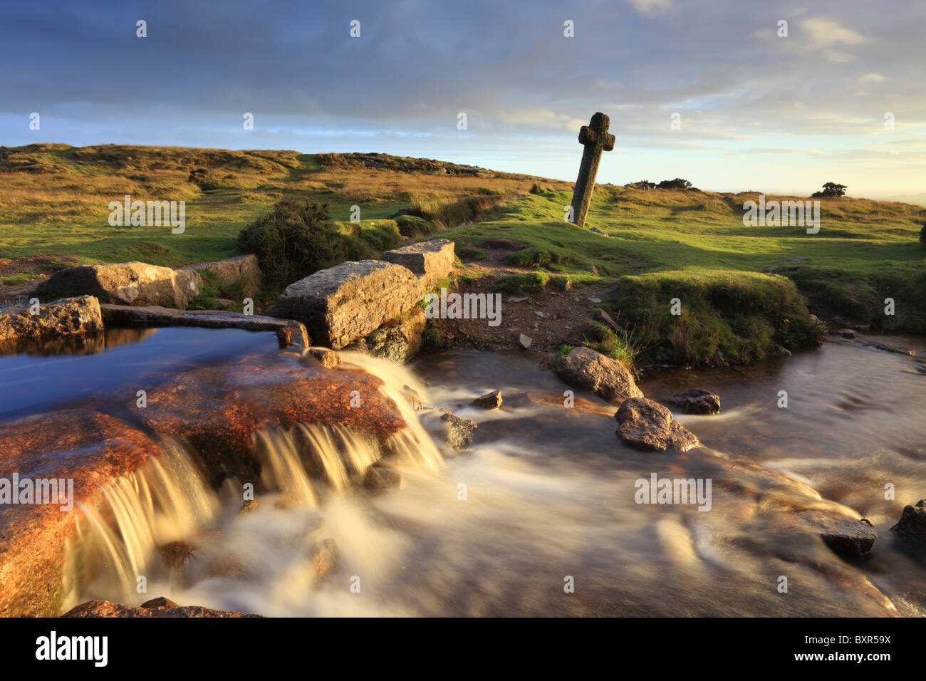 Windy Post Cross in the Dartmoor National Park, Devon - Stock Image