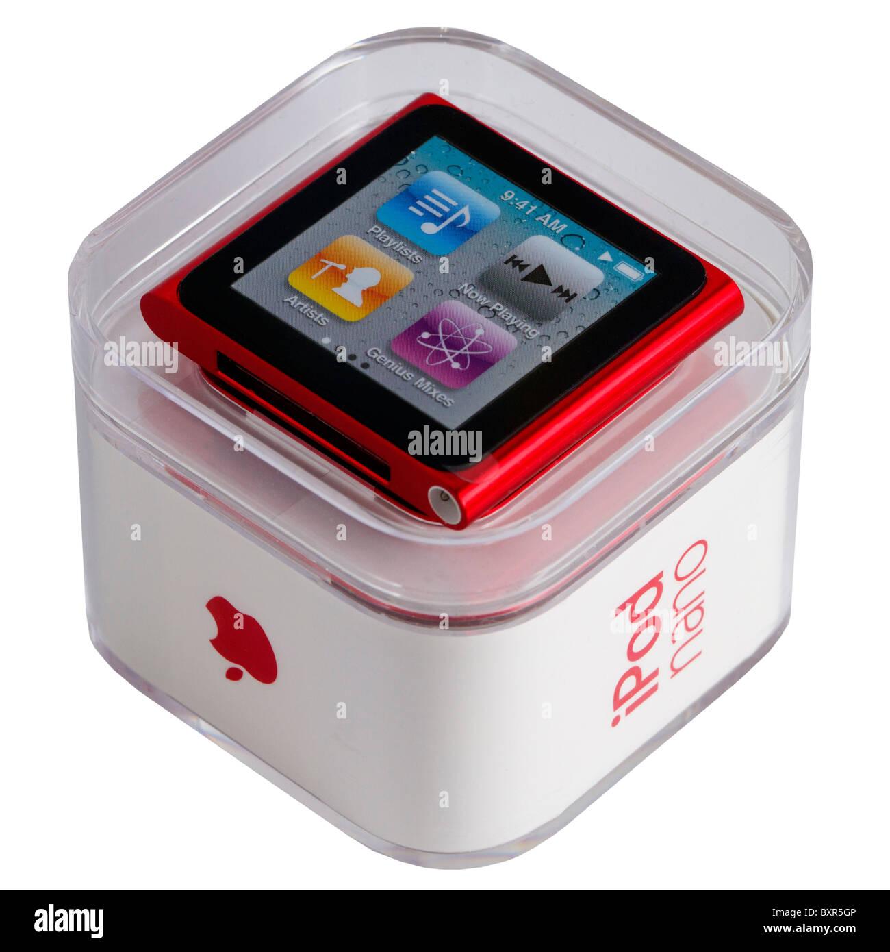 Apple iPod Nano, sixth generation, in its box, on white background