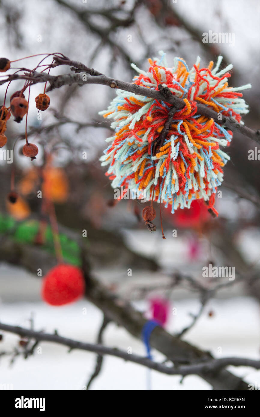 A decorated tree in Prague, Christmas 2010 - Stock Image