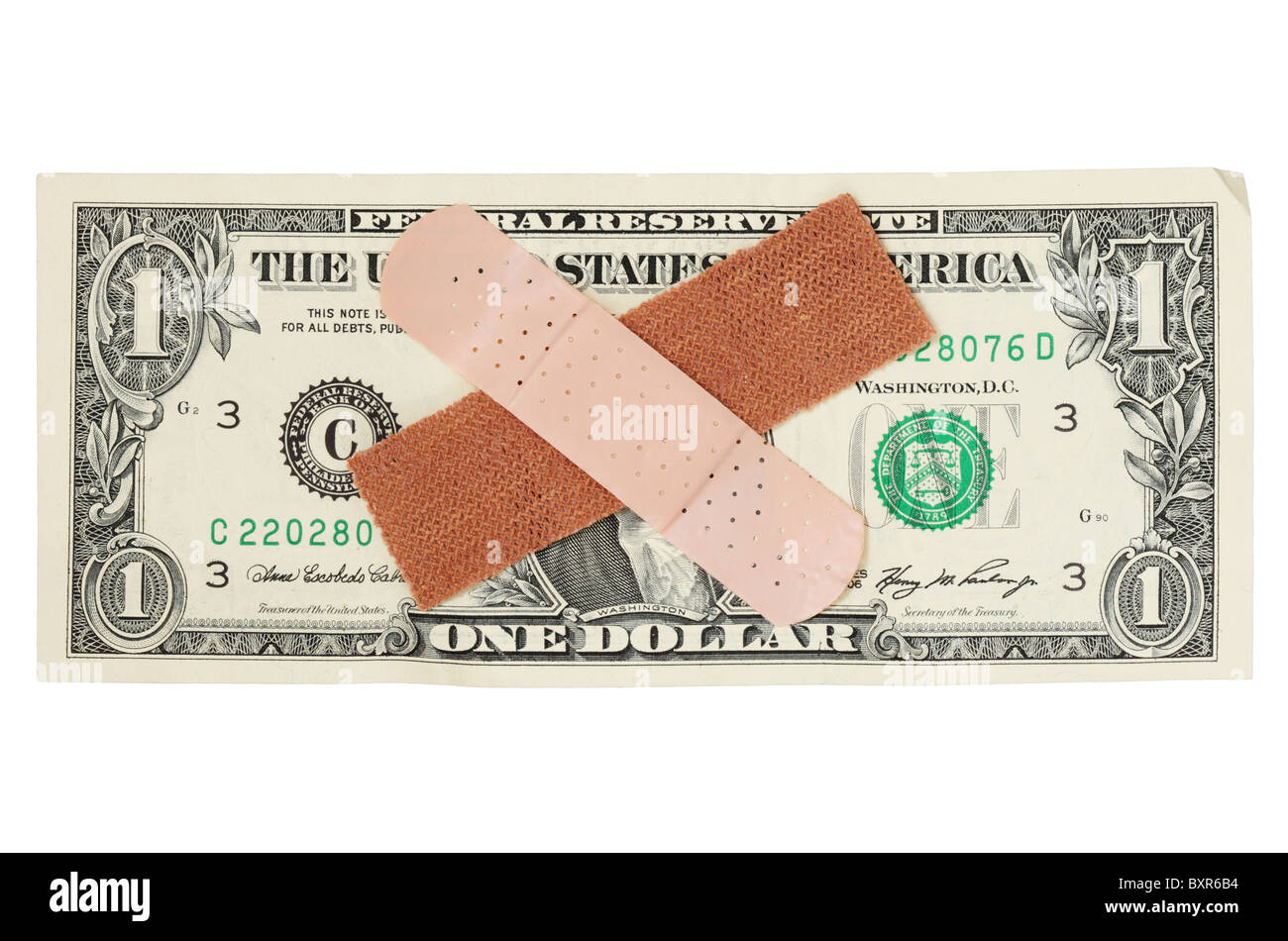 US one dollar bill with bandages on the portrait - Stock Image