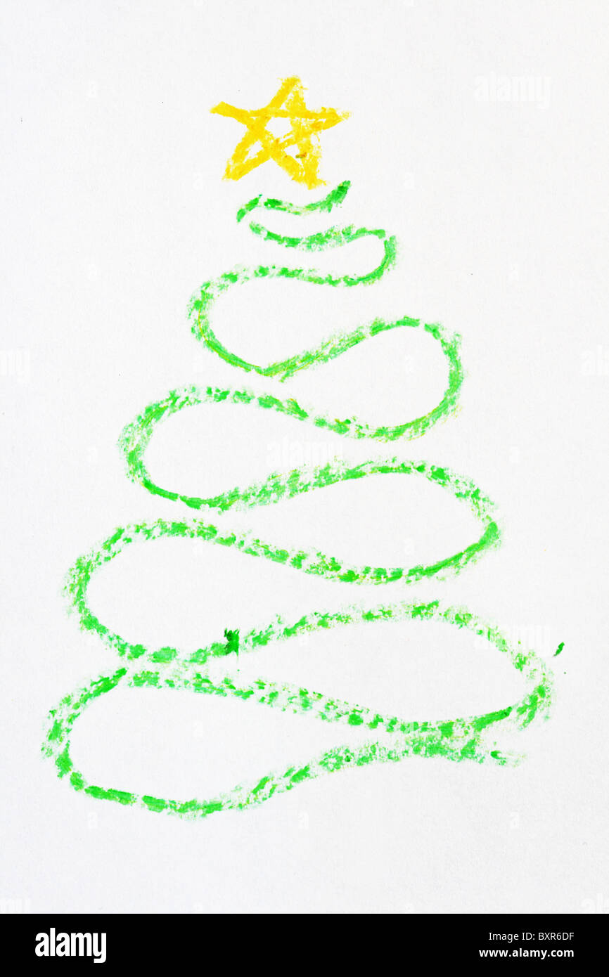 Christmas Tree Drawn With A Curved Green Crayon Line And Yellow Star