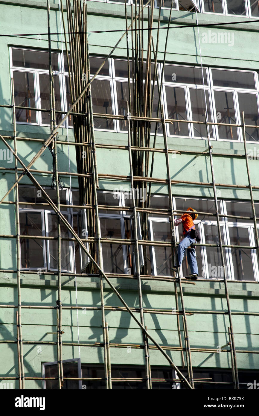 Bamboo scaffolding used in building and construction in Hong Kong, China - Stock Image