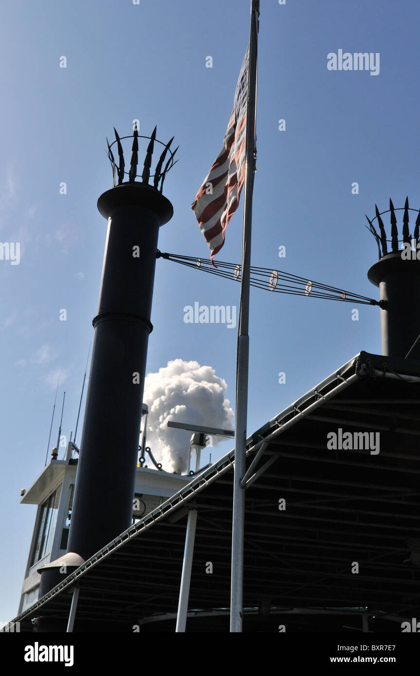 Smokestack of Steamer Natchez, Mississippi River, New Orleans, Louisiana Stock Photo