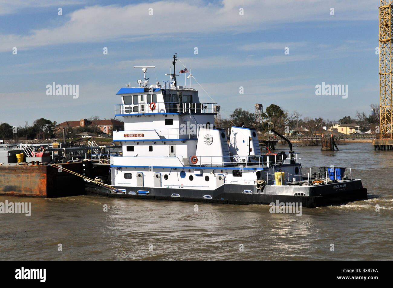 tugboat pushing barge mississippi river new orleans louisiana stock photo 33702210 alamy. Black Bedroom Furniture Sets. Home Design Ideas