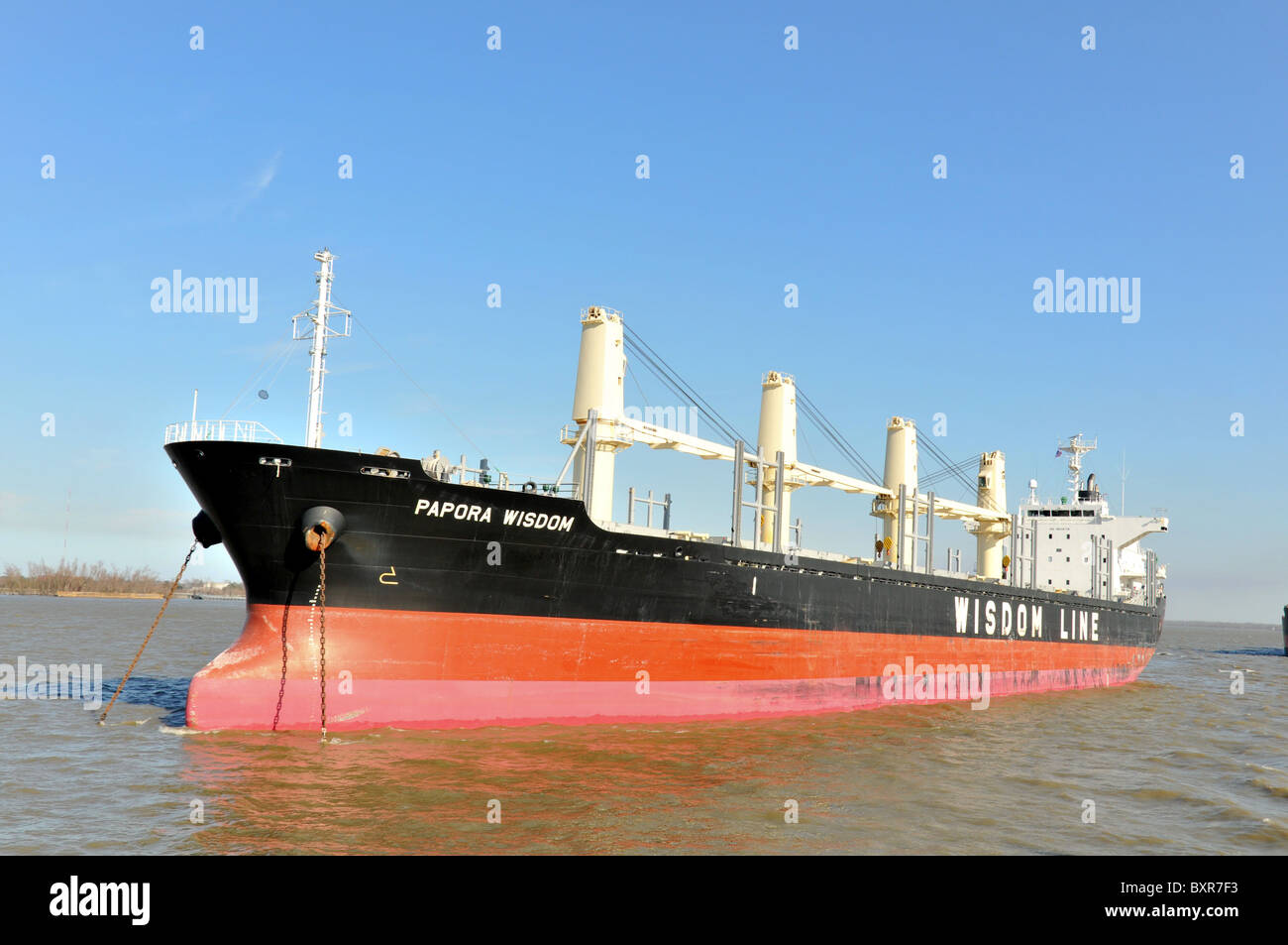 Empty bulk cargo ship at anchor, Mississippi River, New Orleans, Louisiana - Stock Image