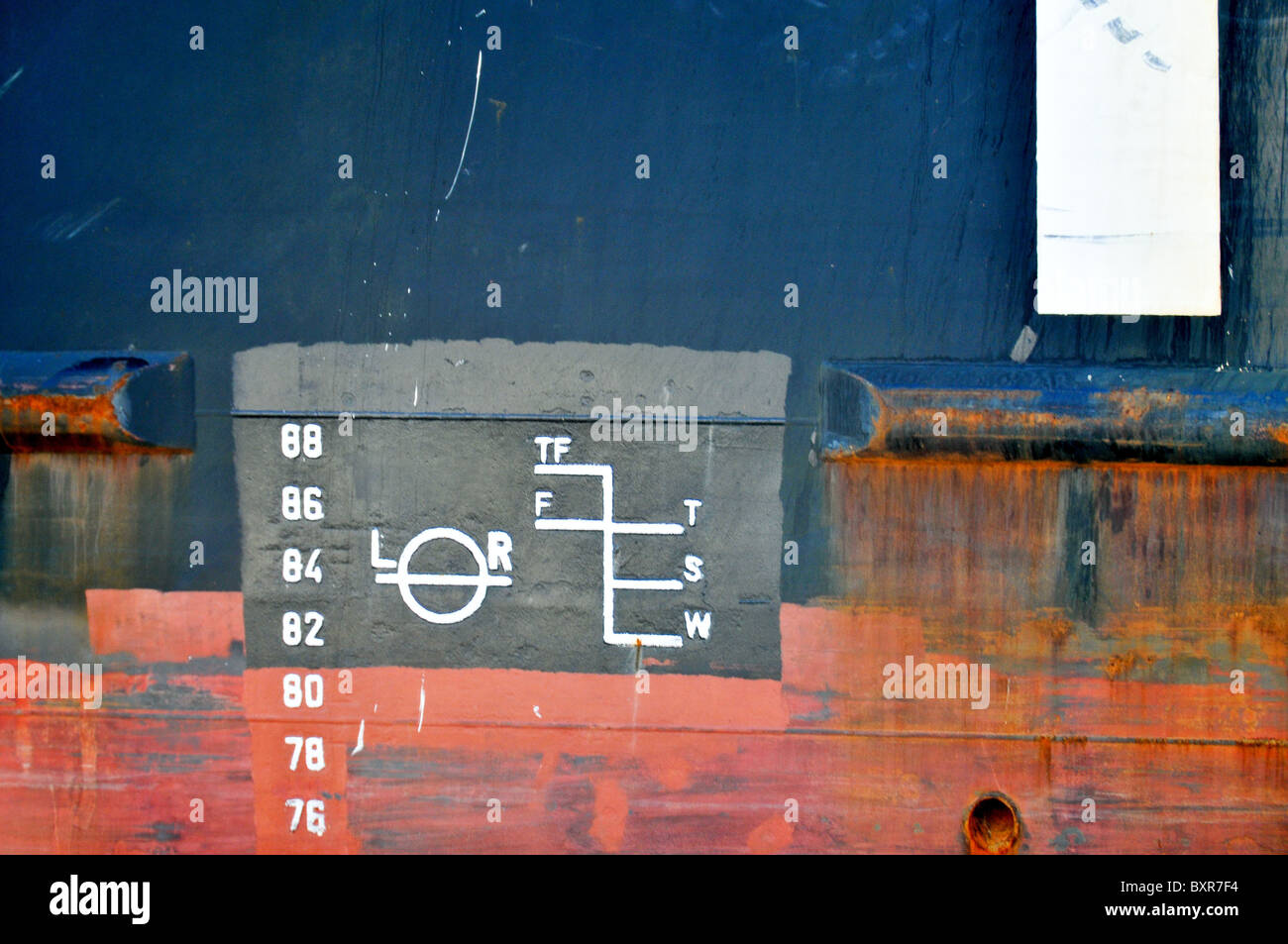 Plimsoll load line on side of ship, Mississippi River, New Orleans, Louisiana - Stock Image