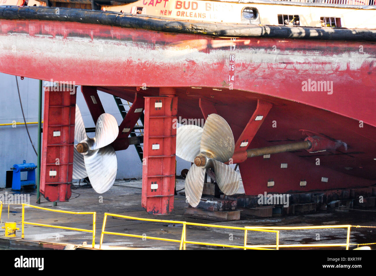 Propellers of tugboat in dry dock, Mississippi River, New Orleans, Louisiana - Stock Image