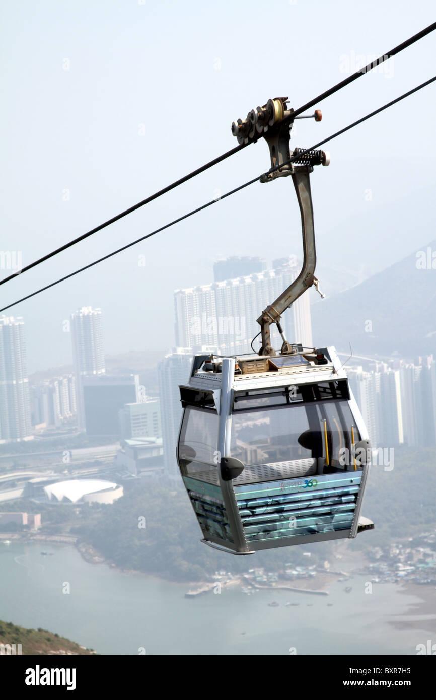 Tung Chung to Ngong Ping cable car on Lantau Island in Hong Kong, China - Stock Image