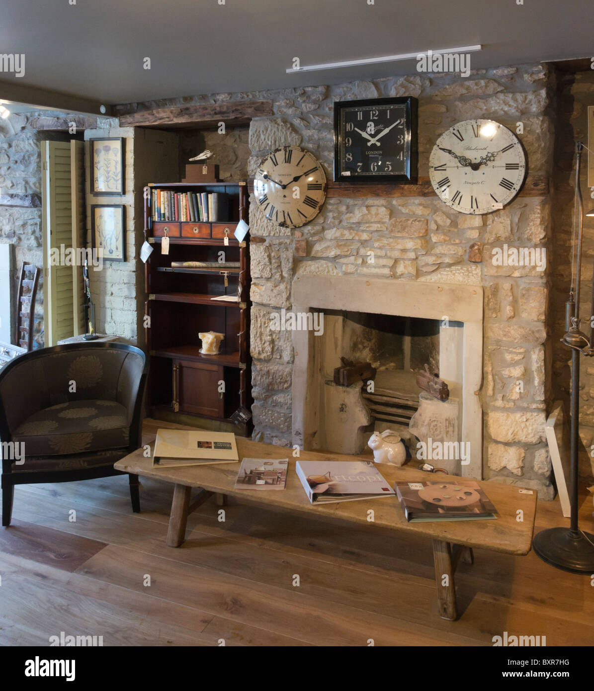 Old Cottage Stone Walls And Two Fireplaces Exposed During Renovation Of A  Shop In Scotland