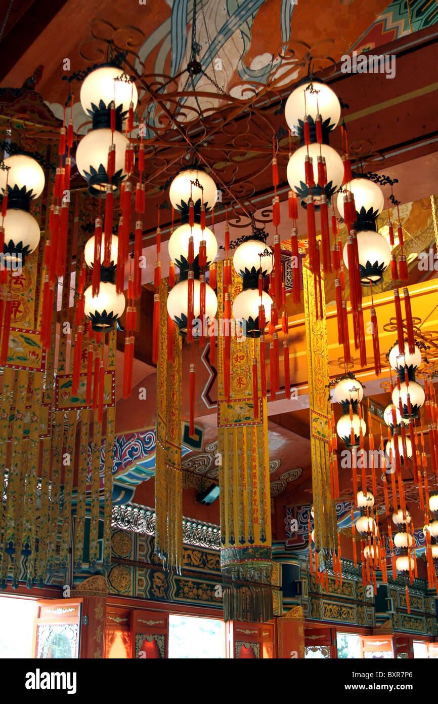 Lanterns and lights at the Po Lin Monastery on Lantau Island in Hong Kong, China - Stock Image