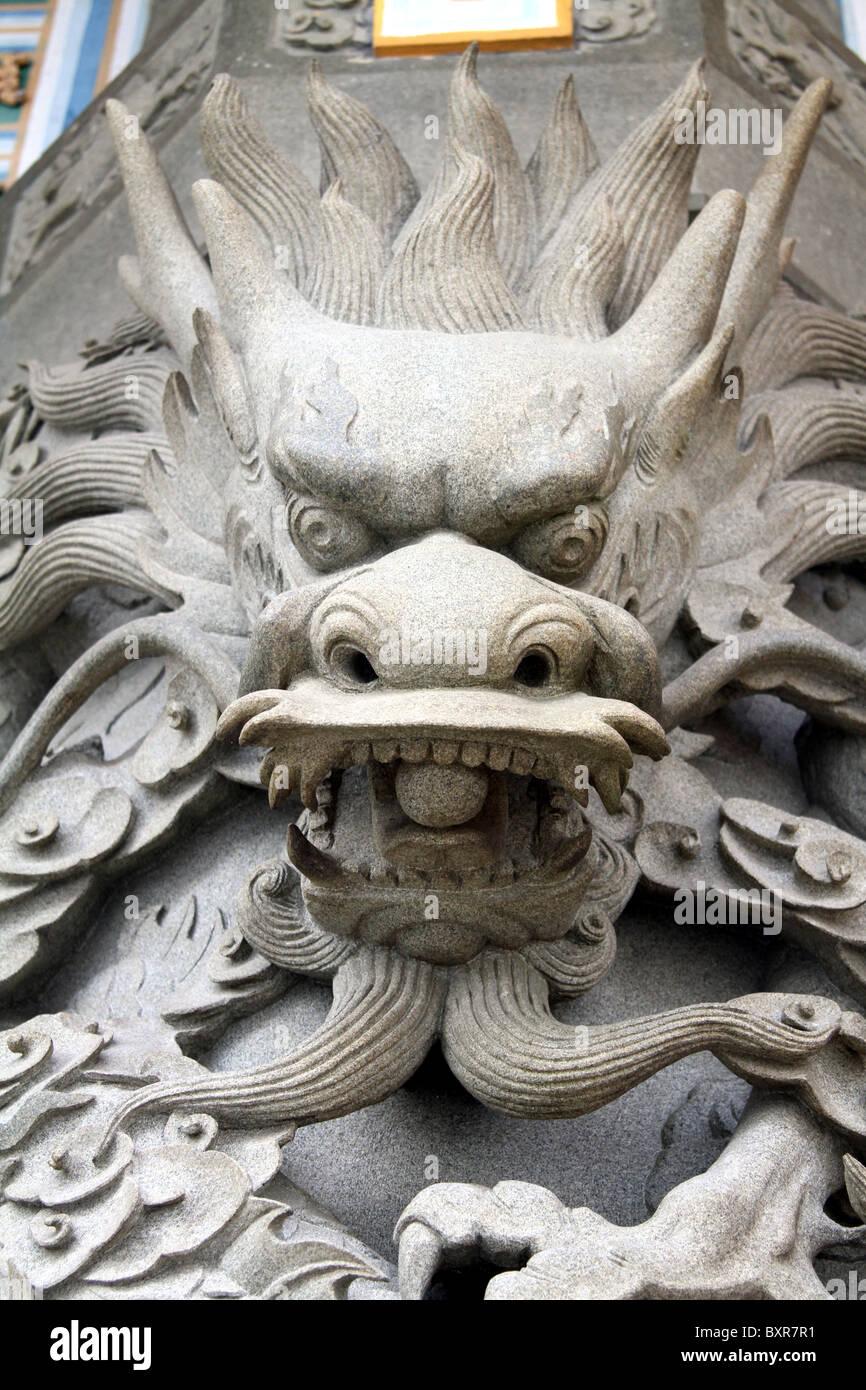 Dragon statue at the Po Lin Monastery on Lantau Island in Hong Kong, China - Stock Image