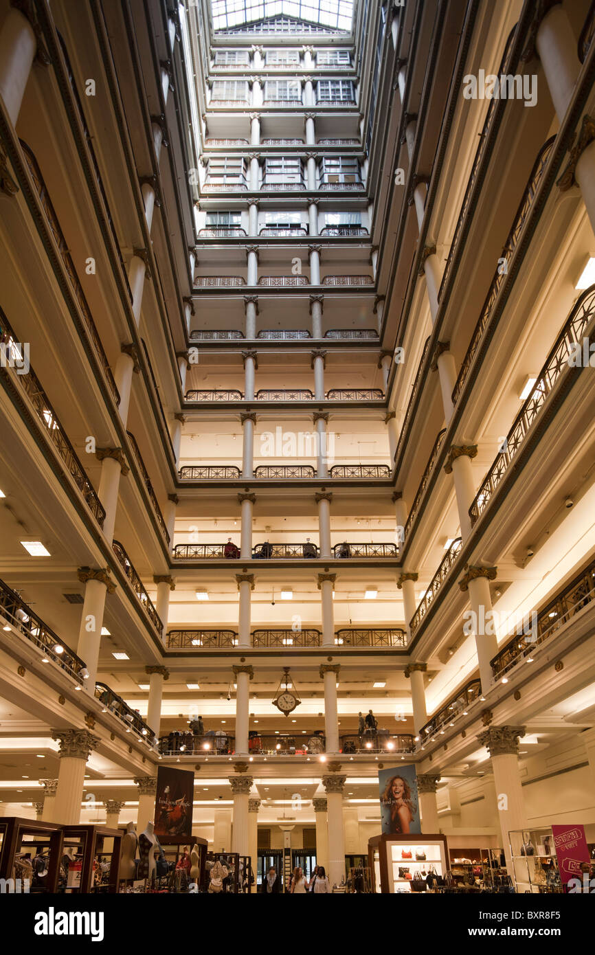 interior of northwest atrium, Marshall Field and Company Building, now Macy's, State Street, Chicago, Illinois, - Stock Image