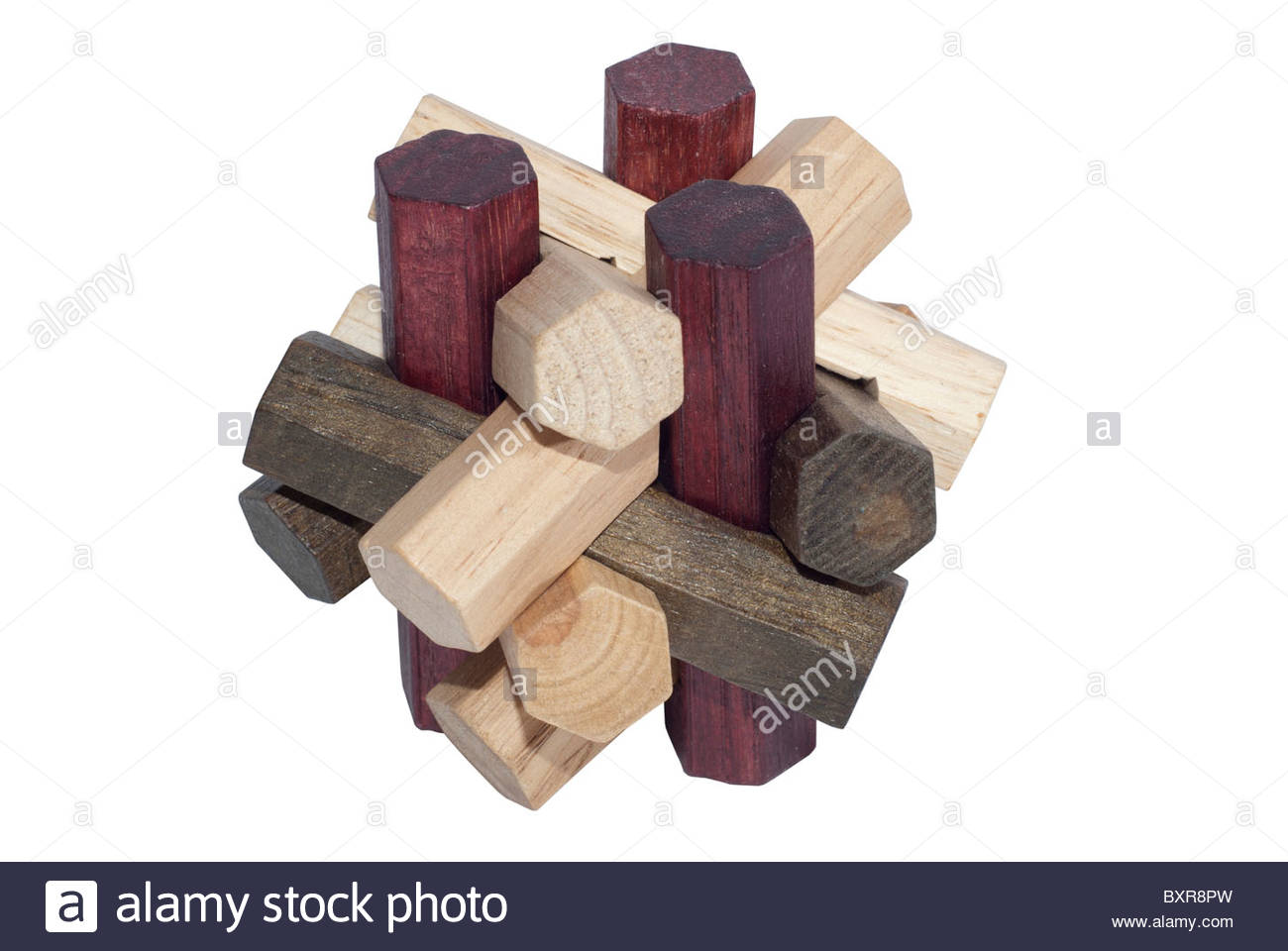 Intelligence game made with wooden pieces. Logic puzzle - Stock Image