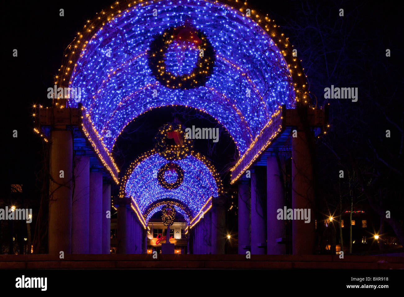 Christmas decorations - illuminated walkway - in the city of Boston, Ma, USA - Stock Image