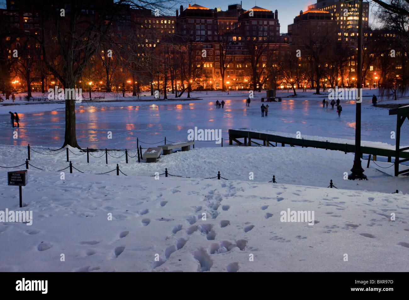 Christmas In Boston Massachusetts.Frozen Lagoon In The Public Gardens In Snow At Christmas