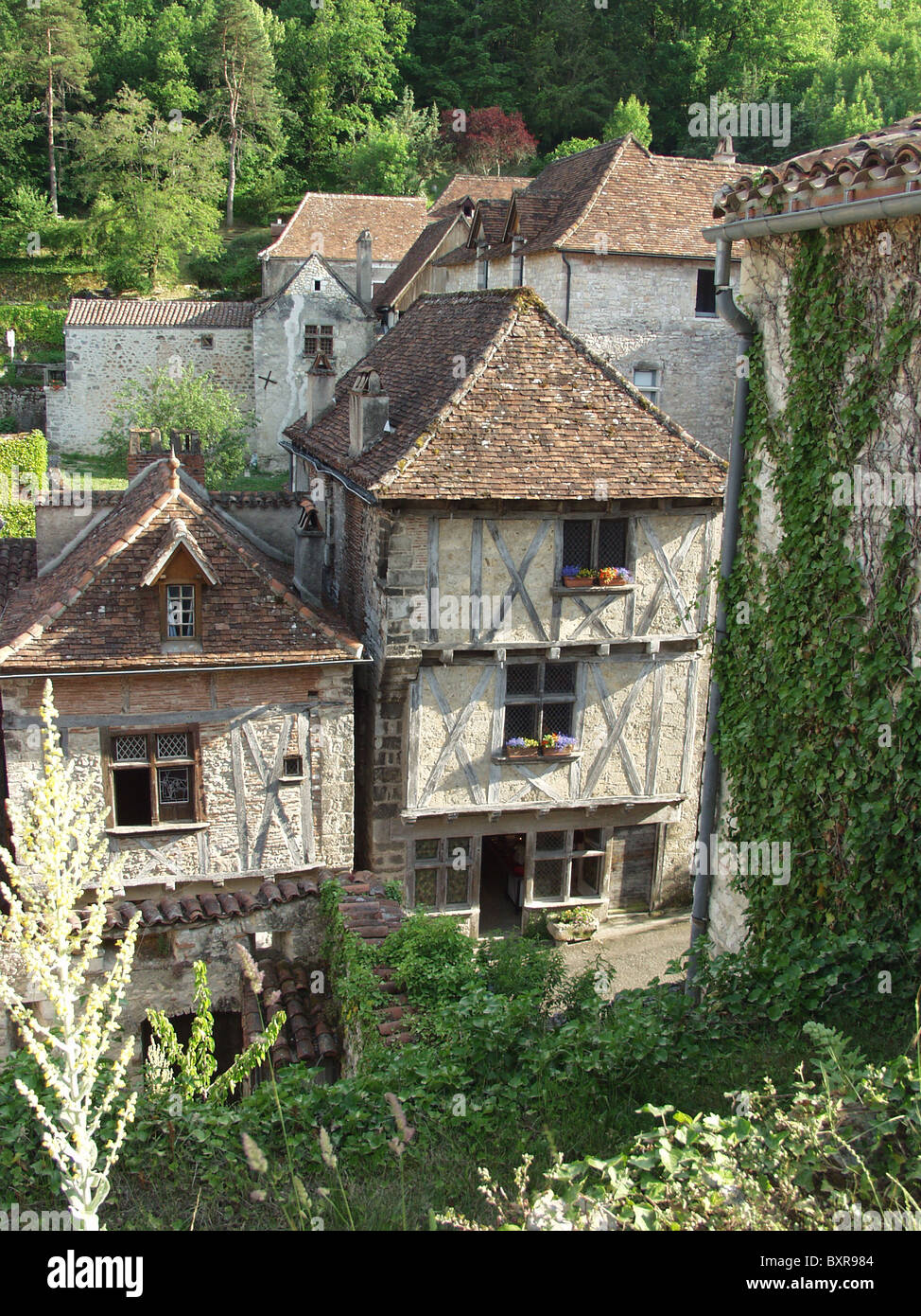 Houses in the village of St-Cirq-Lapopie in the Dordogne - Stock Image