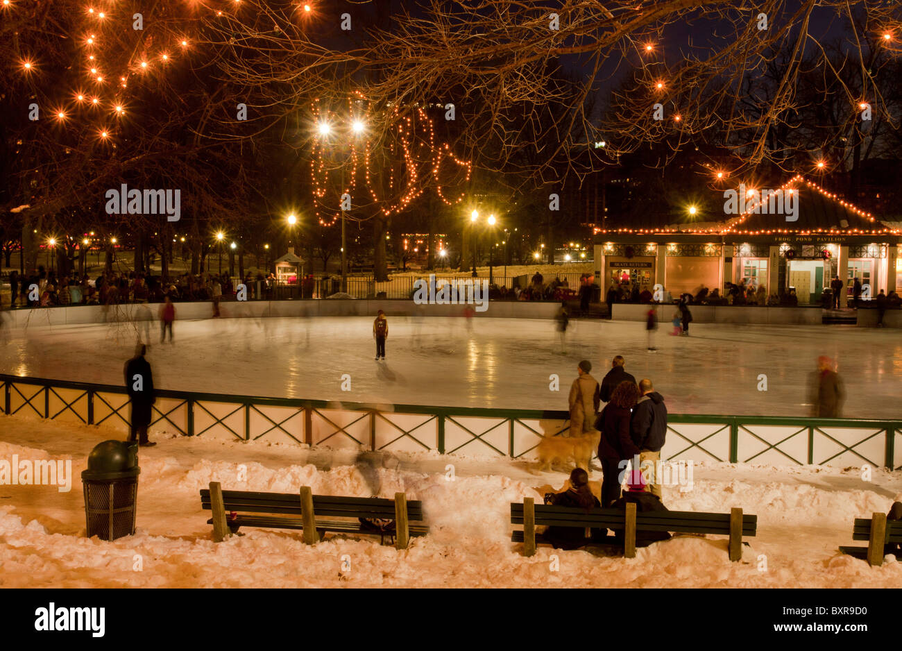 Christmas In Boston Massachusetts.Christmas Skating Rink On Frog Pond The Common Boston Ma