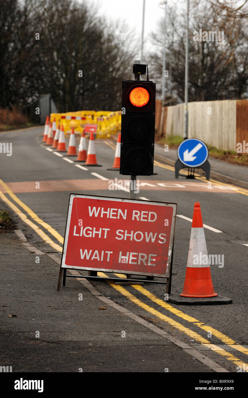 Roadworks temporary traffic lights - Stock Image
