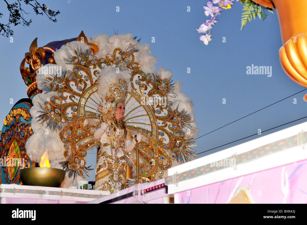 Beautifully costumed woman on float, Endymion Parade, Mardi Gras, New Orleans, Louisiana - Stock Image
