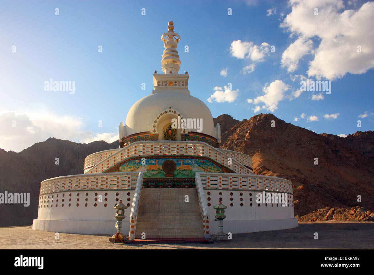 Shanti Stupa is a Buddhist white-domed stupa (chorten) on a hilltop in Chandspa, Leh district, Ladakh, in the north Stock Photo