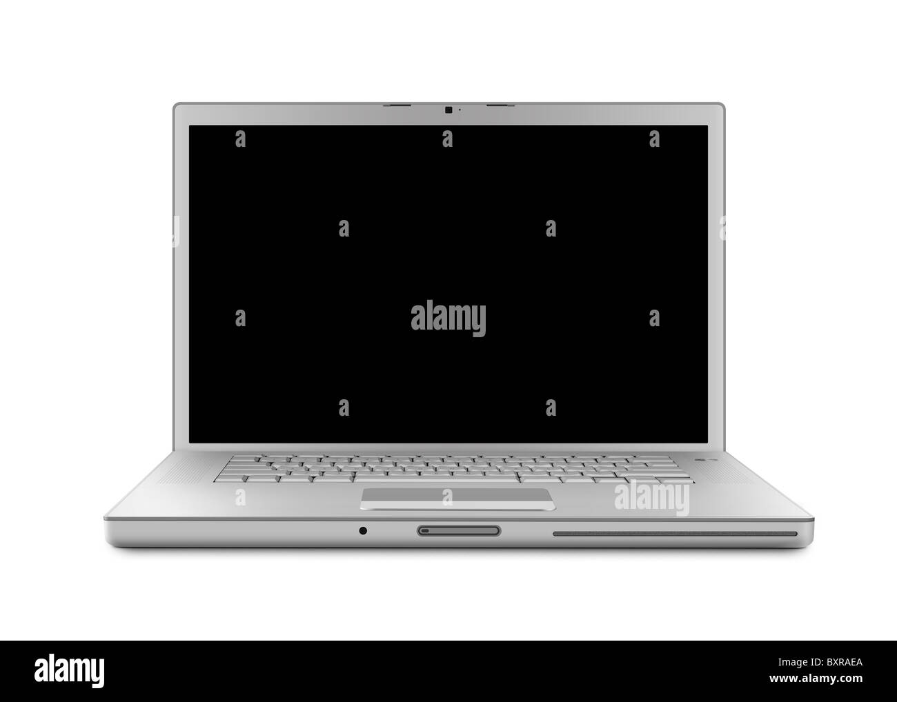 Laptop computer with clipping path. Isolated with a black screen on white background. - Stock Image