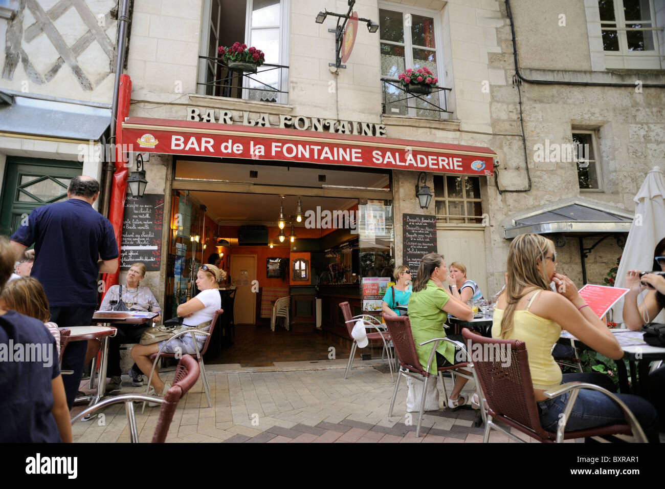 france, loire valley, blois, outdoor cafe - Stock Image