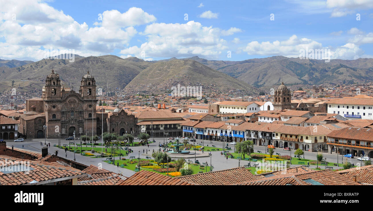 Panorama with the cathedral on plaza de armas in Cusco (also spelled Cuzco) in Peru. - Stock Image