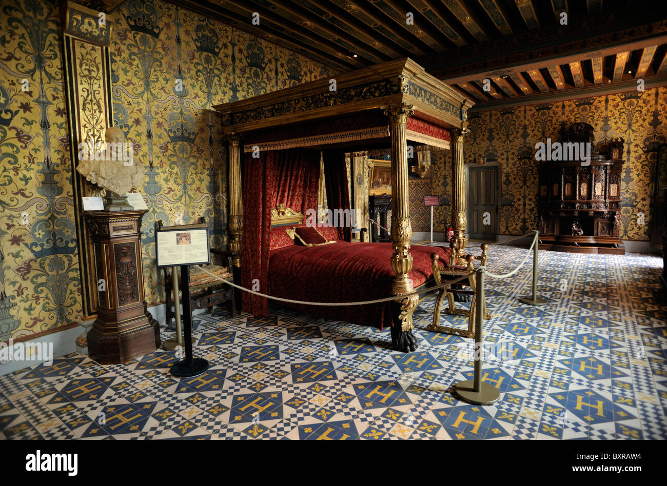 France, Loire Valley, Blois, Castle Interior, King Henri III Bedroom   Stock