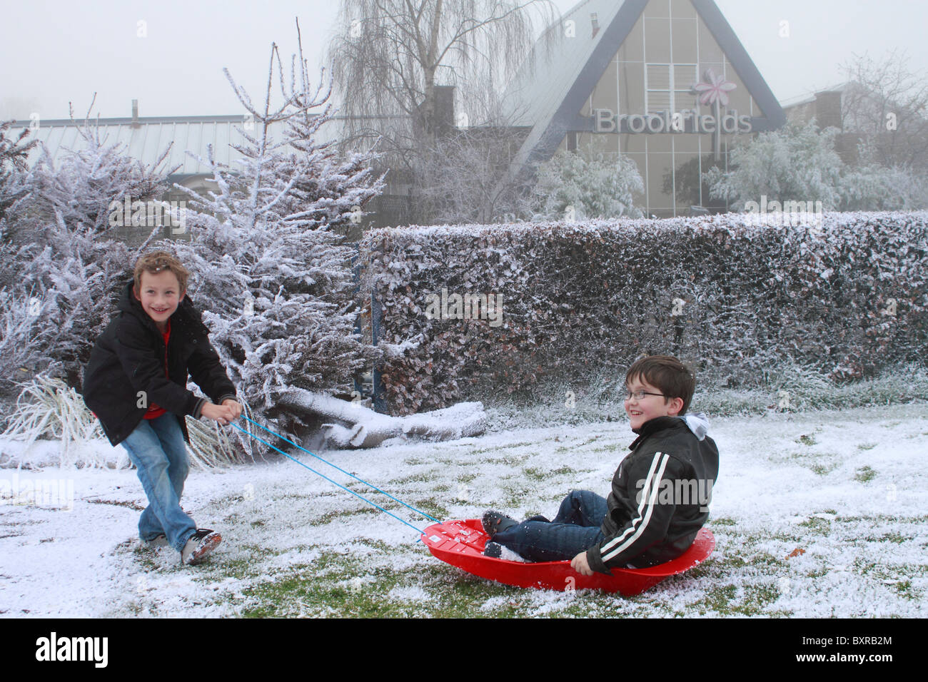 two nine year-old-boys playing in the artificial snow laid down by the Snow business company at Brookfields Garden - Stock Image