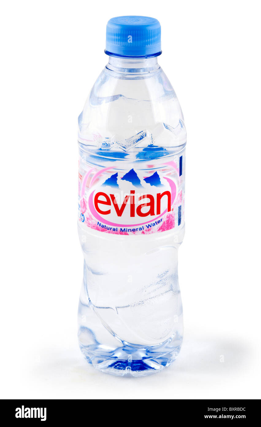 Bottle of Evian natural mineral water, UK - Stock Image