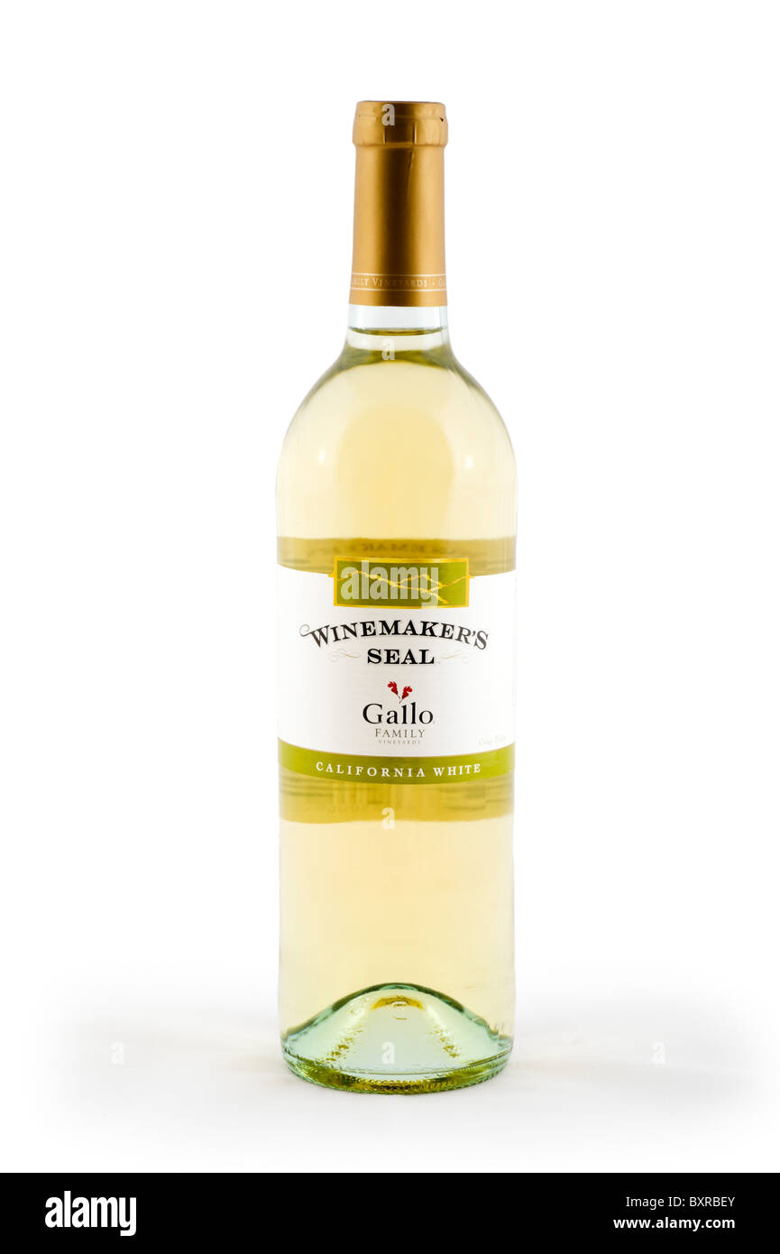 Bottle of Gallo Californian White Wine, UK - Stock Image